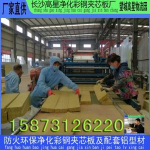 产供一级防火长沙保温岩棉夹芯板 望城岩棉板 屋面瓦楞板